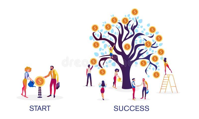 girl finanziario tiene un pacchetto di piacere dei dollari Crescita degli indicatori economici di finanza Successo negli investim illustrazione di stock