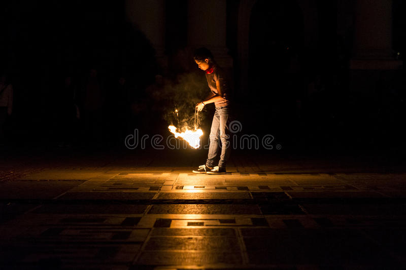Girl fire show stock images