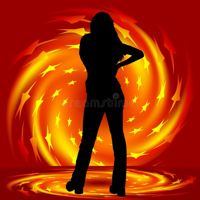 Girl and fire twirl. Illustration with fiery effects and silhouette royalty free illustration