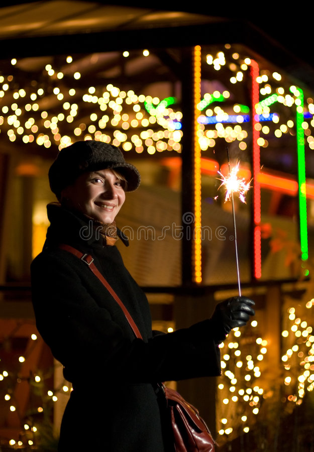 Girl with fireworks stock image
