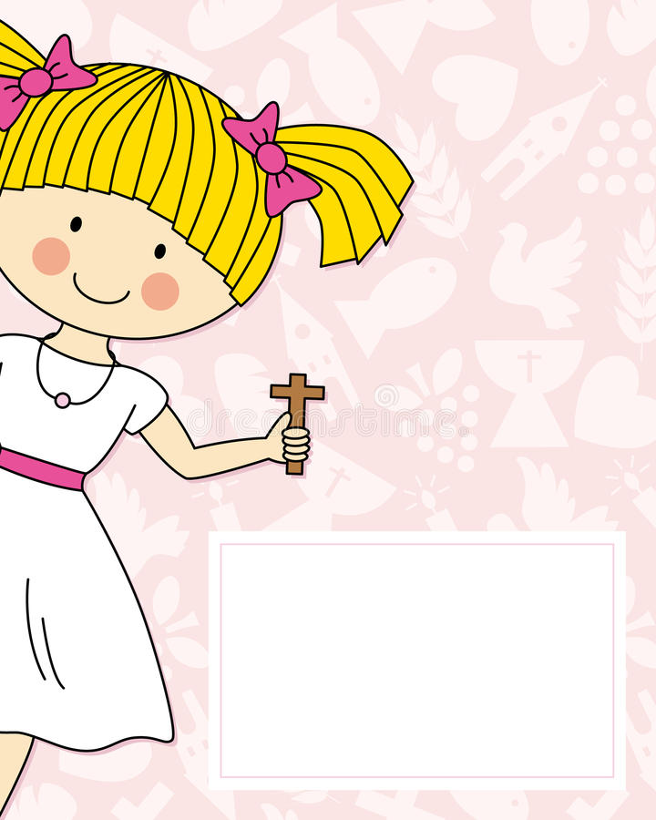 Girl First Communion. First communion card. Girl with a cross in his hand royalty free illustration