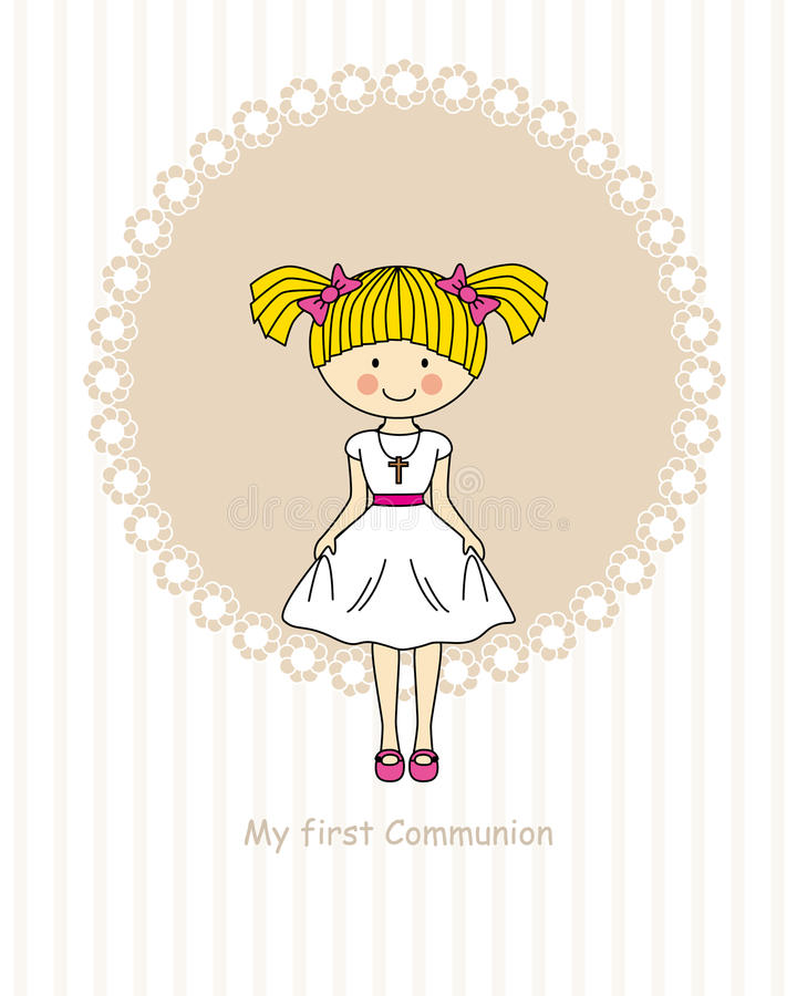 Girl First Communion. My first communion invitation card. Girl royalty free illustration