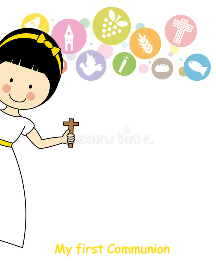 Girl First Communion. Religious icons. space for text vector illustration