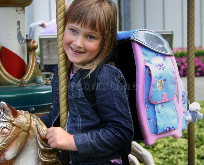 Girl after the first school da stock photography