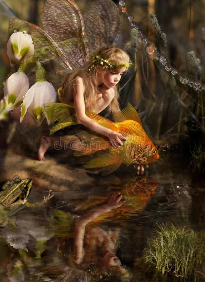 The girl and fish. Girl elf releases a gold fish