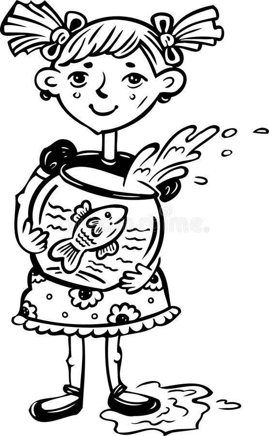 Girl with a fish in an aquarium.Children. vector illustration