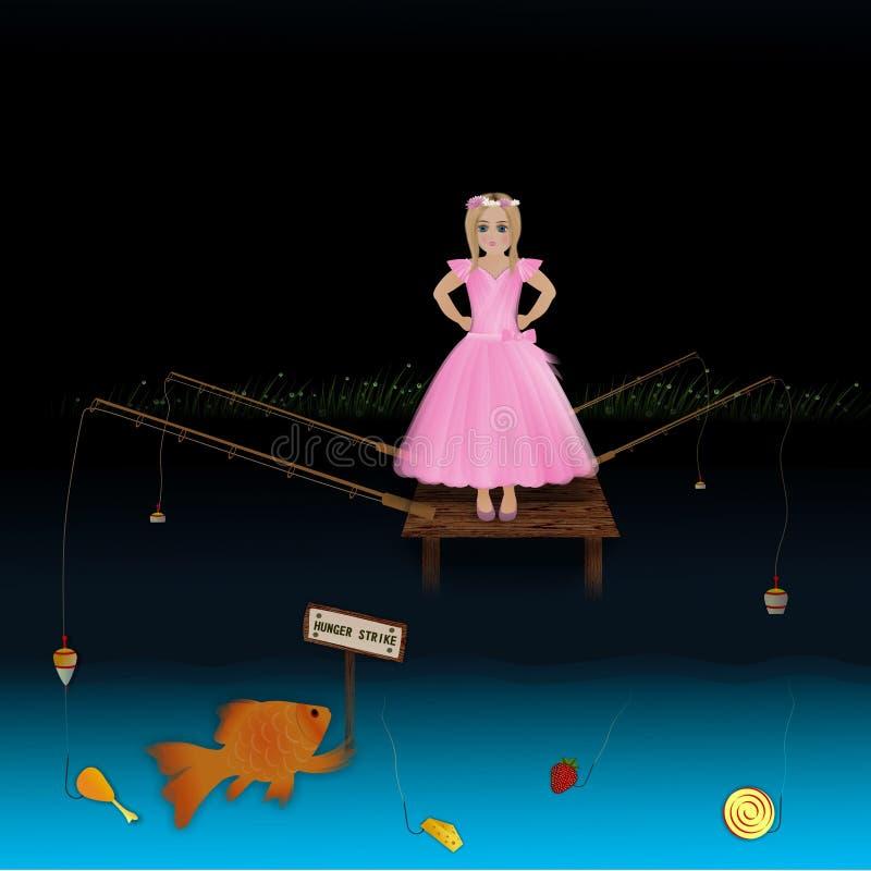 Girl fishing goldfish stock illustration