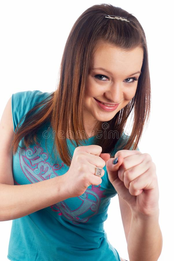 Download Girl with fists stock photo. Image of formal, beautiful - 15329618
