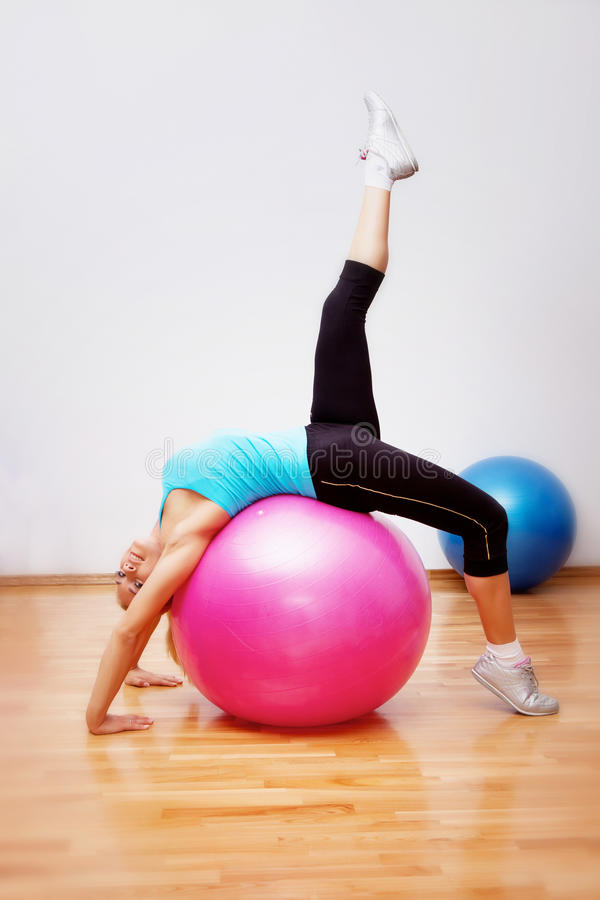 Download Girl with fitball stock photo. Image of diet, happy, liquid - 24094180