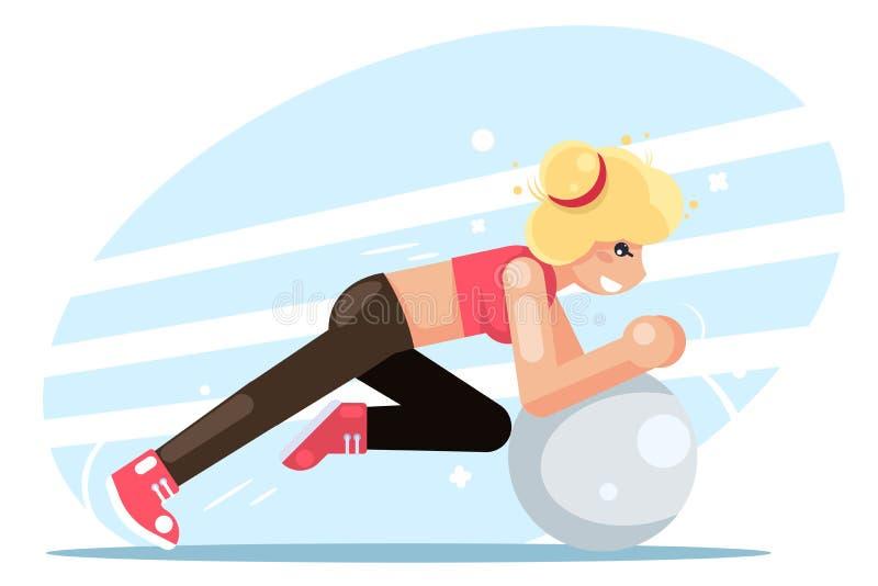 Girl fitball fitness women health exercise female sport flat design vector illustration stock illustration