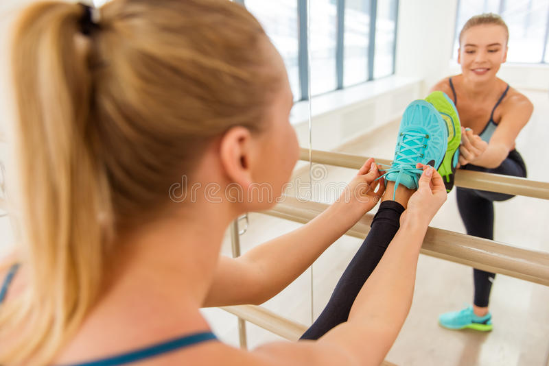 Girl in fitness class stock image