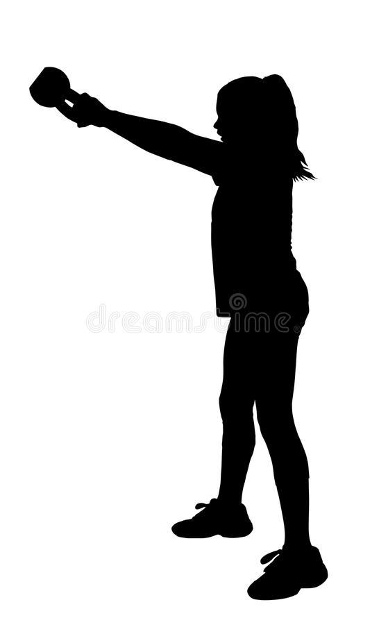 Girl Fitness Exerciser Silhouette. Girl with Ponytail Hair Swinging Fitness Kettlebell Silhouette vector illustration