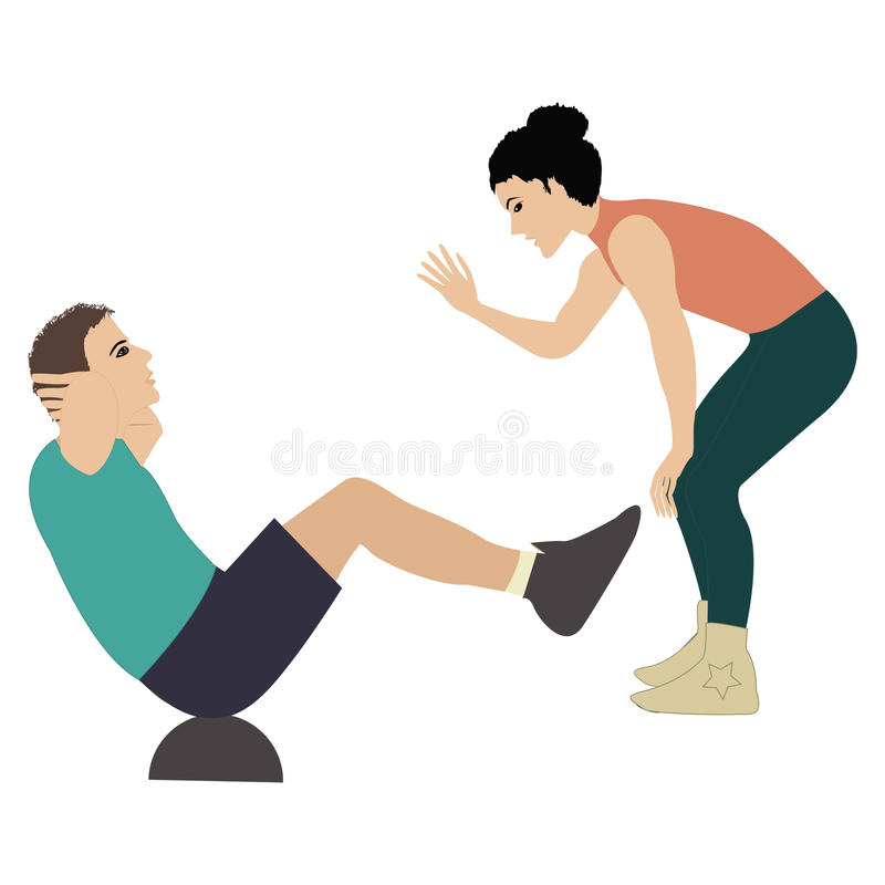 Girl fitness instructor holds training session man shakes the press insulated by on white background vector illustration. Girl fitness instructor holds training stock illustration