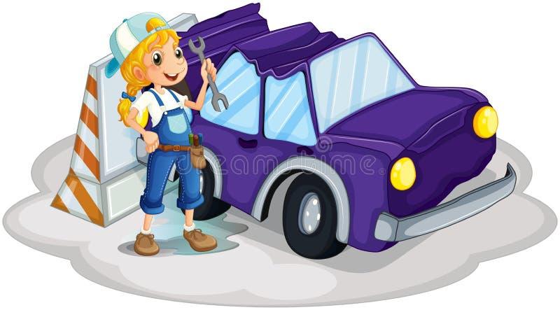 Download A Girl Fixing The Broken Violet Car Stock Vector - Illustration: 33097185