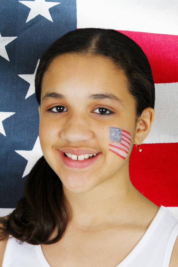 Download Girl With Flag stock photo. Image of girl, female, fourth - 24919020