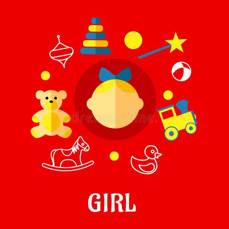 Girl flat concept royalty free illustration
