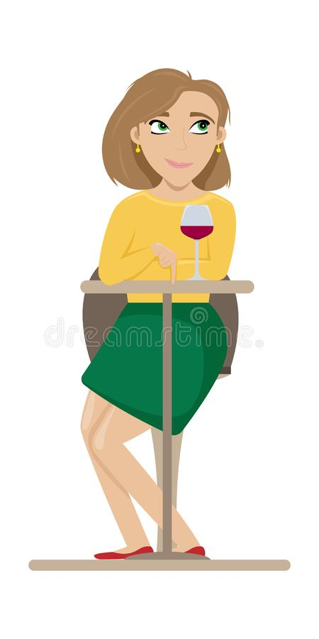 Girl flirting sitting at a table in a cafe with a glass of wine. Flat vector illustration.  vector illustration