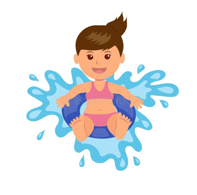 Girl floats on lifebuoy. Vector illustration of summer vacation at sea royalty free illustration