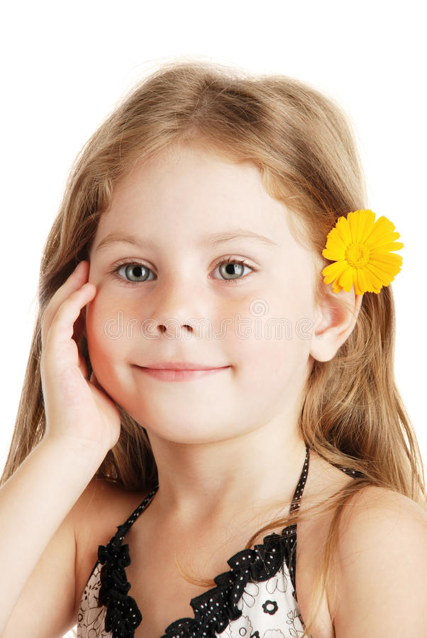 Download The girl and flower stock image. Image of childhood, girl - 14862411