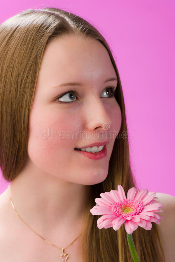Girl And Flower Stock Photography