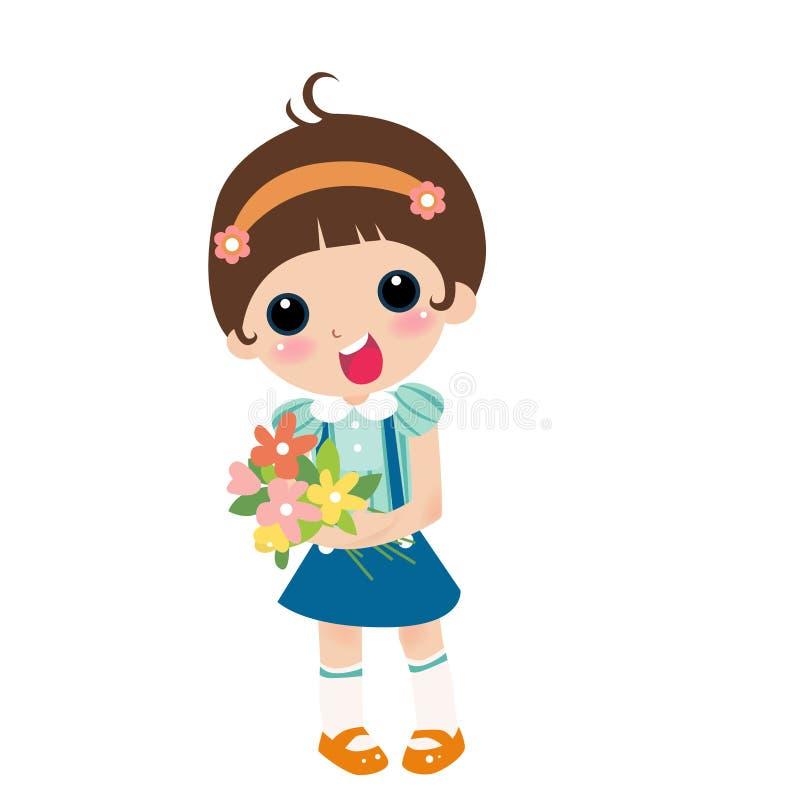 Download Girl With Flower stock illustration. Illustration of children - 7219331
