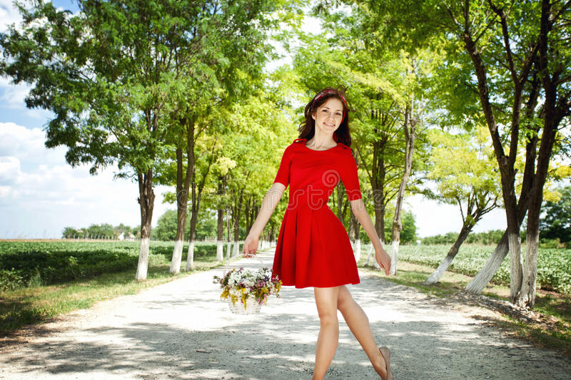 Download Girl with flower basket stock photo. Image of feminine - 27525362