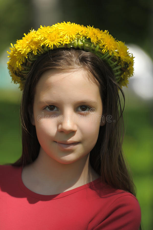 Download Girl with flower crown stock photo. Image of outdoor - 20505576