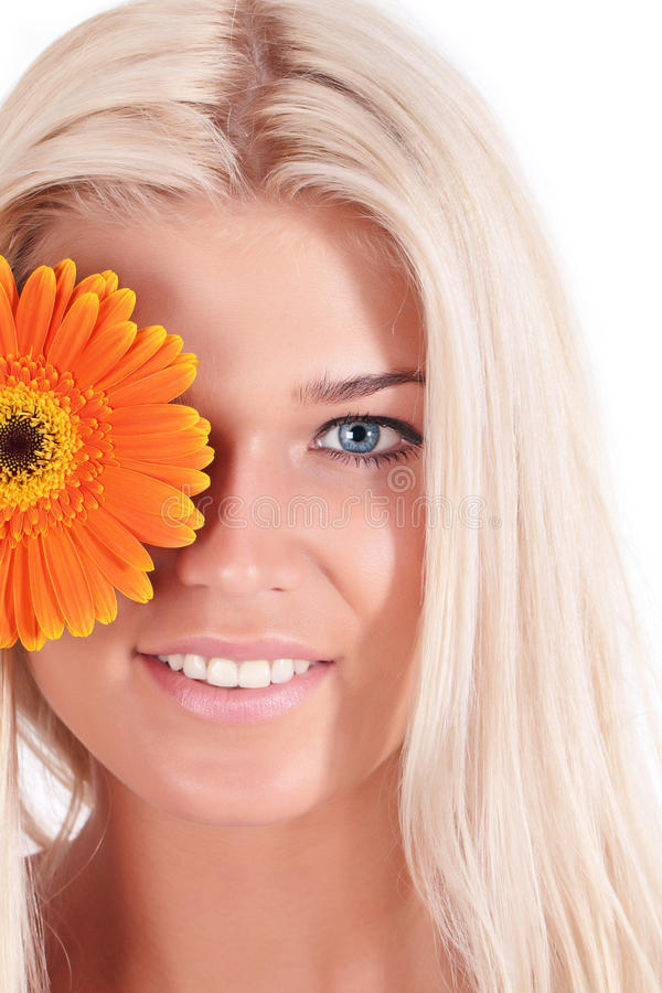 Download The Girl With A Flower Gerbera Stock Image - Image: 14858829