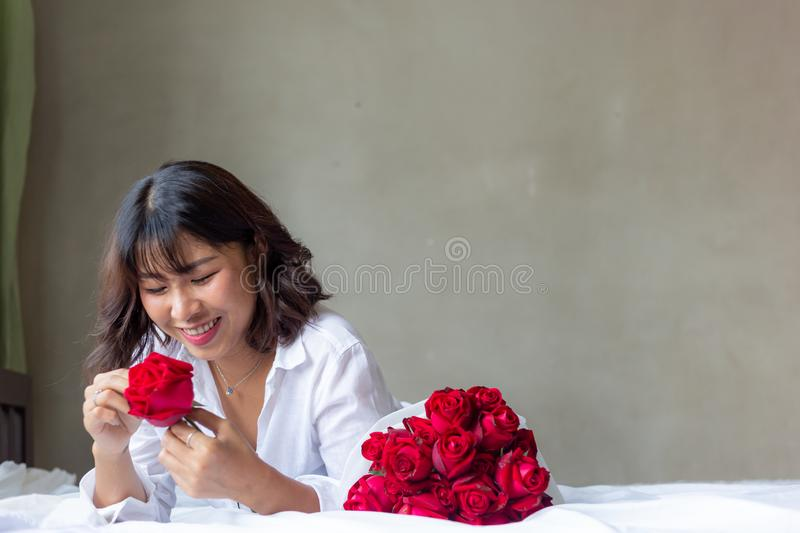 The girl with the flower stock photography