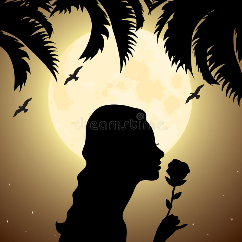 Girl with a flower under palm tree stock illustration