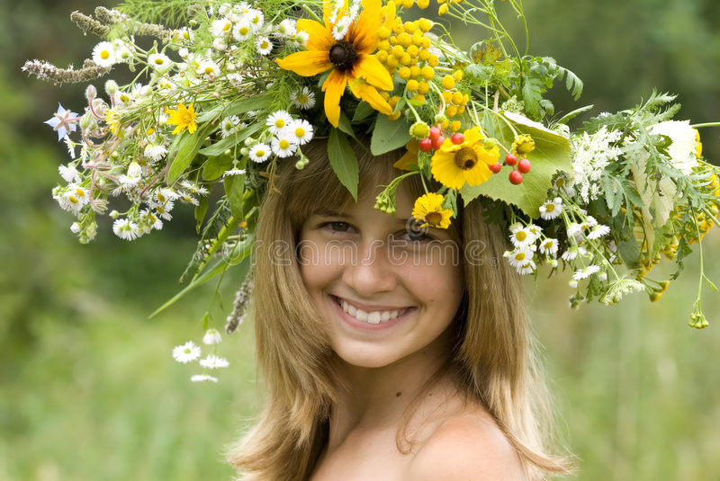 Download Girl With Flower Wreath Royalty Free Stock Photography - Image: 3085207
