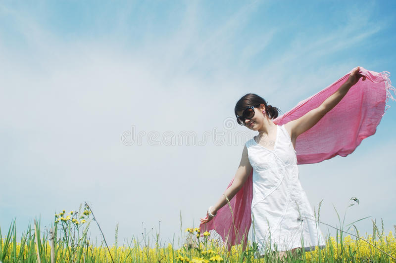 Girl and flowers stock photos