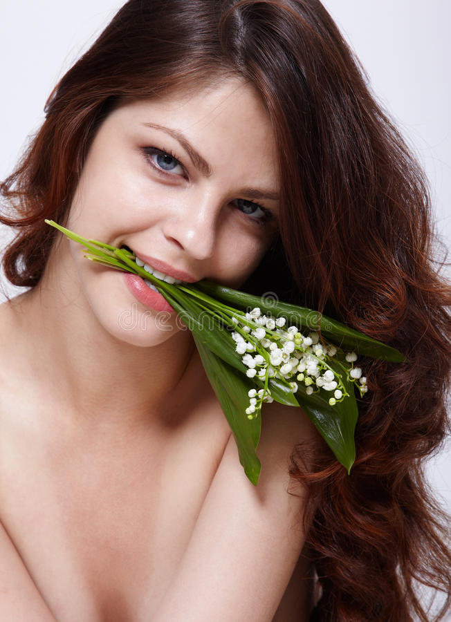 Download Girl with flowers stock photo. Image of young, beauty - 15075064
