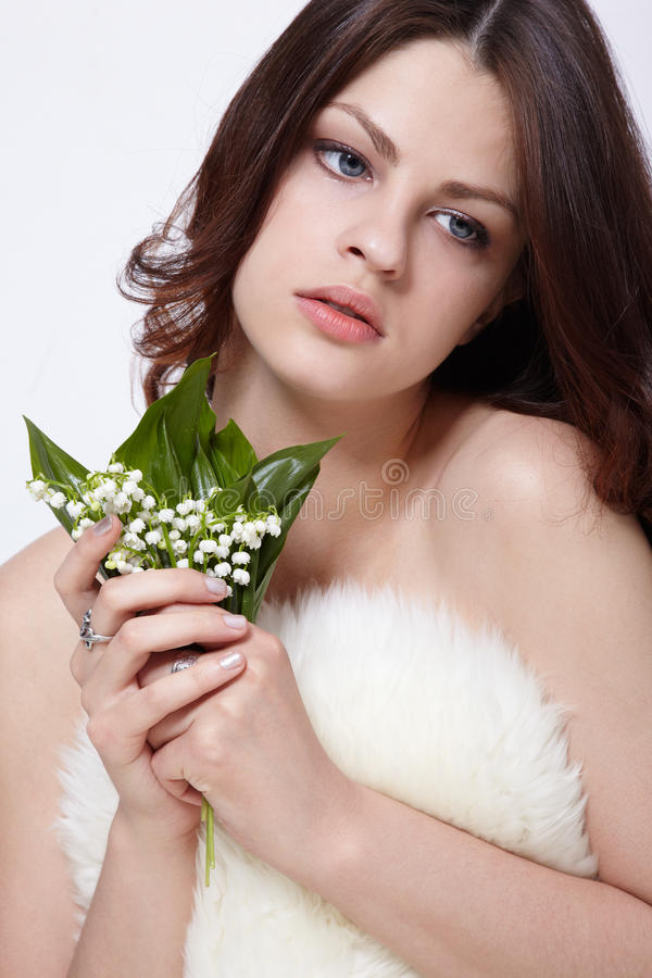 Girl With Flowers Royalty Free Stock Photos