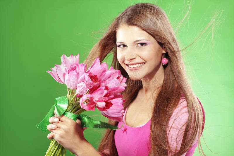 Download Girl with flowers stock photo. Image of lovely, bouquet - 18360252