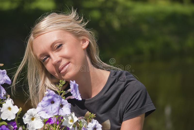 Download Girl and flowers stock image. Image of girl, summer, bright - 20882449