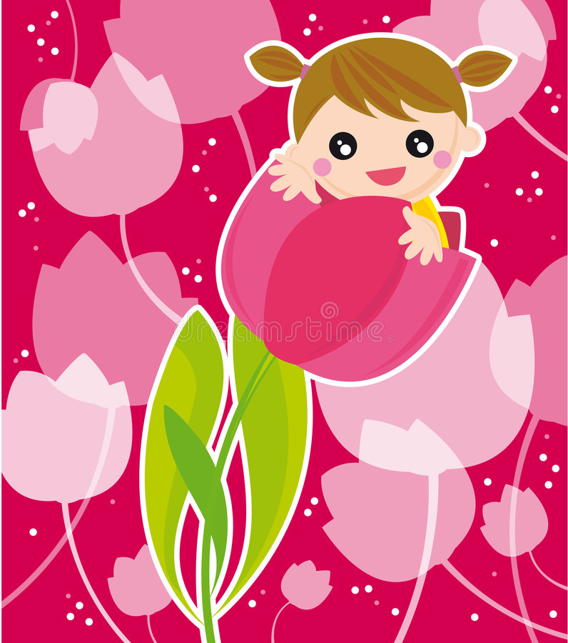 Girl with flowers. Illustration of little girl standing into a flower