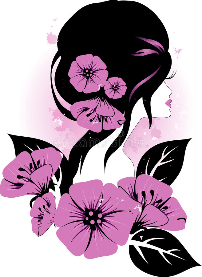Girl with flowers stock illustration