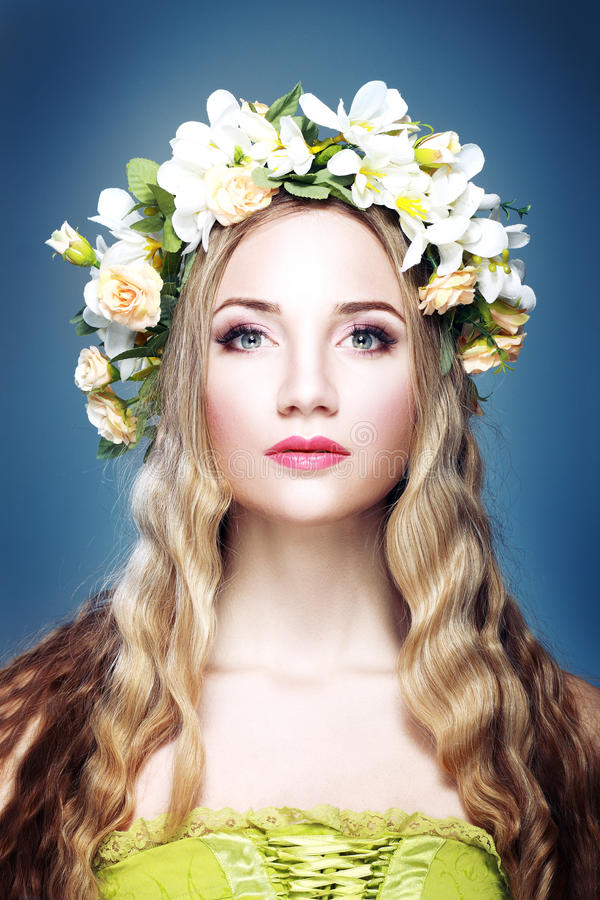 Girl With Flowers royalty free stock image
