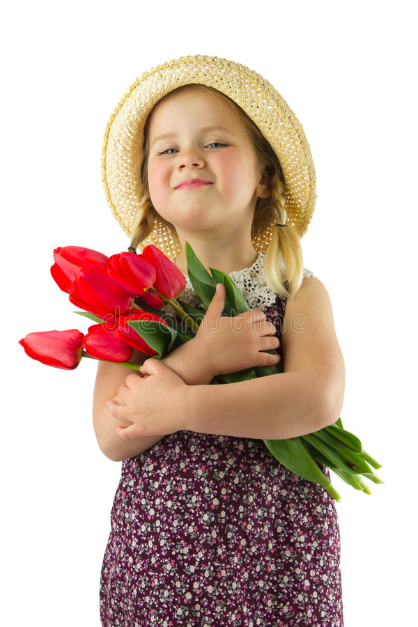 Girl with flowers stock photos