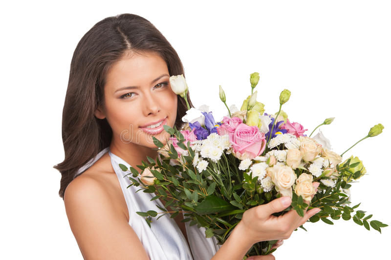 Download Girl with flowers. stock image. Image of evening, flower - 33936643