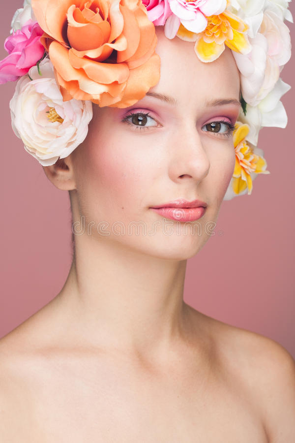 Download Girl with flowers in hair stock image. Image of colorful - 25577425