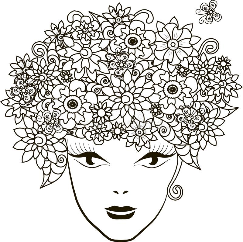Girl with flowers hair, coloring page anti-stress. Vector illustration stock illustration