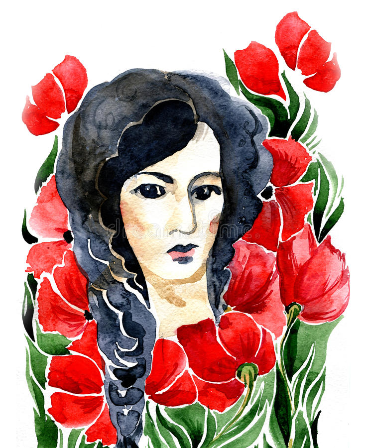 Girl and flowers stock illustration