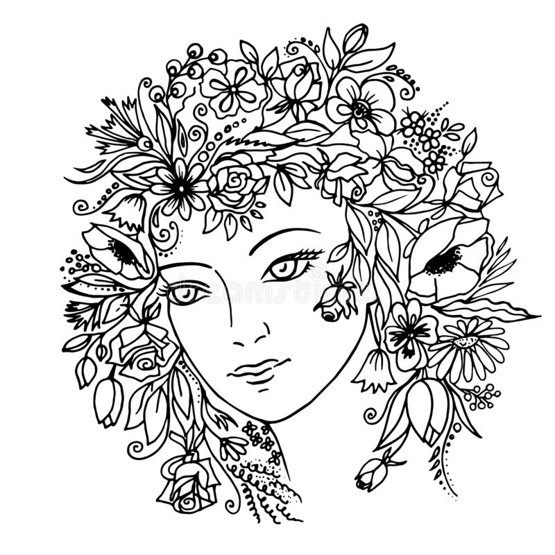 Girl with flowers in her hair. Vector. royalty free illustration