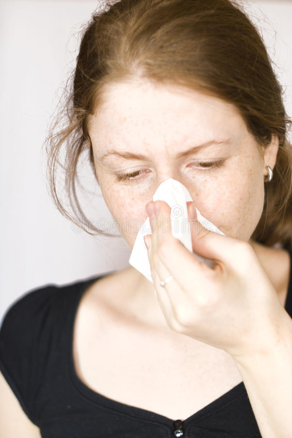 Girl with flu royalty free stock photography
