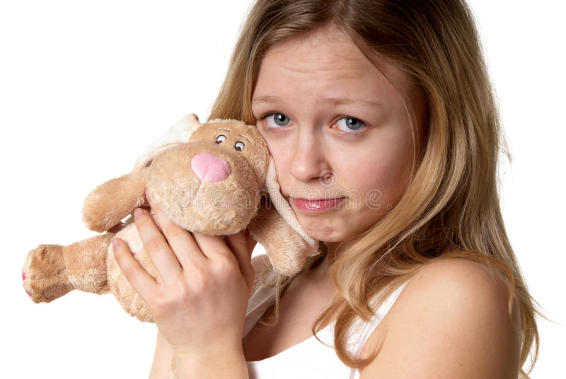 Girl and a fluffy bunny stock photography