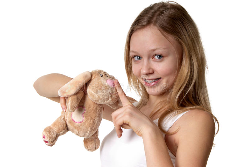 Girl and a fluffy bunny royalty free stock images