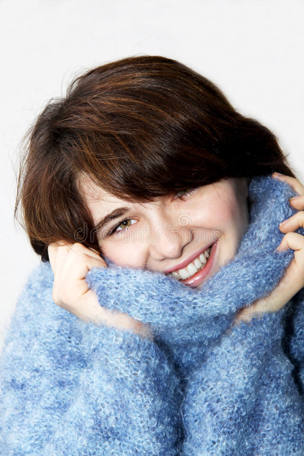 Download The Girl In A Fluffy Sweater 5 Stock Image - Image: 13013803
