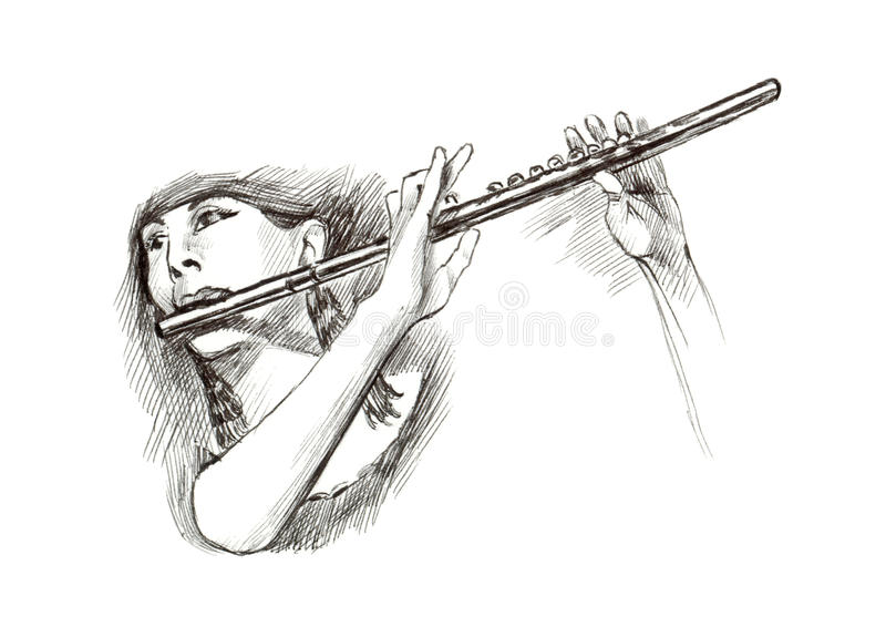 Girl with flute stock illustration